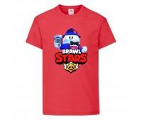 Футболка детская Brawl Stars Lou Singer (Бравл Старс Лу Певец) красная 104 см