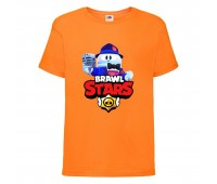 Футболка детская Brawl Stars Lou Singer (Бравл Старс Лу Певец) оранжевая 104 см