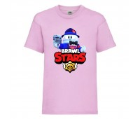 Футболка детская Brawl Stars Lou Singer (Бравл Старс Лу Певец) розовая 104 см
