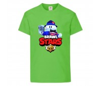 Футболка детская Brawl Stars Lou Singer (Бравл Старс Лу Певец) светлозеленая 104 см