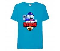 Футболка детская Brawl Stars Lou Singer (Бравл Старс Лу Певец) синяя 104 см