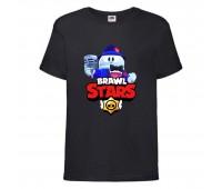 Футболка детская Brawl Stars Lou Singer (Бравл Старс Лу Певец) черная 104 см