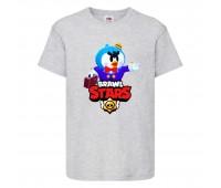 Футболка детская Brawl Stars Mr. P (Бравл Старс Мистер П) серая 104 см