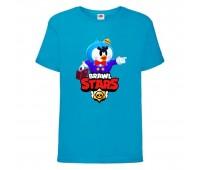 Футболка детская Brawl Stars Mr. P (Бравл Старс Мистер П) синяя 104 см
