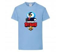 Футболка детская Brawl Stars Mr. P Agent (Бравл Старс Мистер П Агент) голубая 104 см