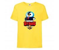 Футболка детская Brawl Stars Mr. P Agent (Бравл Старс Мистер П Агент) желтая 104 см