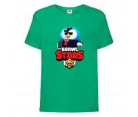 Футболка детская Brawl Stars Mr. P Agent (Бравл Старс Мистер П Агент) зеленая 104 см