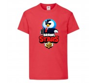 Футболка детская Brawl Stars Mr. P Agent (Бравл Старс Мистер П Агент) красная 104 см