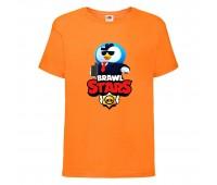 Футболка детская Brawl Stars Mr. P Agent (Бравл Старс Мистер П Агент) оранжевая 104 см