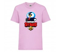 Футболка детская Brawl Stars Mr. P Agent (Бравл Старс Мистер П Агент) розовая 104 см