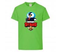 Футболка детская Brawl Stars Mr. P Agent (Бравл Старс Мистер П Агент) светлозеленая 104 см