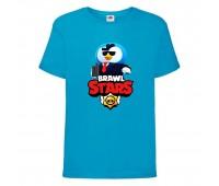 Футболка детская Brawl Stars Mr. P Agent (Бравл Старс Мистер П Агент) синяя 104 см