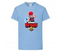 Футболка детская Brawl Stars Pam Beach (Бравл Старс Пэм Пляжная) голубая 104 см