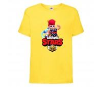 Футболка детская Brawl Stars Pam Beach (Бравл Старс Пэм Пляжная) желтая 104 см