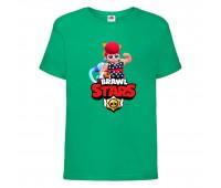 Футболка детская Brawl Stars Pam Beach (Бравл Старс Пэм Пляжная) зеленая 104 см