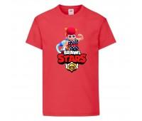 Футболка детская Brawl Stars Pam Beach (Бравл Старс Пэм Пляжная) красная 104 см