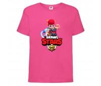 Футболка детская Brawl Stars Pam Beach (Бравл Старс Пэм Пляжная) малиновая 104 см