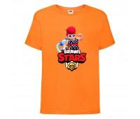 Футболка детская Brawl Stars Pam Beach (Бравл Старс Пэм Пляжная) оранжевая 104 см