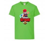 Футболка детская Brawl Stars Pam Beach (Бравл Старс Пэм Пляжная) светлозеленая 104 см