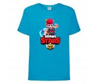 Футболка детская Brawl Stars Pam Beach (Бравл Старс Пэм Пляжная) синяя 104 см