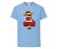 Футболка детская Brawl Stars Quickdraw Edgar (Бравл Старс Эдгар Молниеносный) голубая 104 см