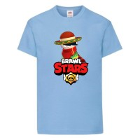 Футболка детская Brawl Stars Quickdraw Edgar (Бравл Старс Эдгар Молниеносный) голубая 164 см
