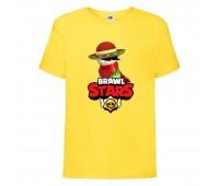 Футболка детская Brawl Stars Quickdraw Edgar (Бравл Старс Эдгар Молниеносный) желтая 104 см