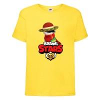 Футболка детская Brawl Stars Quickdraw Edgar (Бравл Старс Эдгар Молниеносный) желтая 164 см