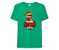 Футболка детская Brawl Stars Quickdraw Edgar (Бравл Старс Эдгар Молниеносный) зеленая 104 см