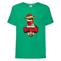 Футболка детская Brawl Stars Quickdraw Edgar (Бравл Старс Эдгар Молниеносный) зеленая 164 см