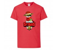 Футболка детская Brawl Stars Quickdraw Edgar (Бравл Старс Эдгар Молниеносный) красная 104 см