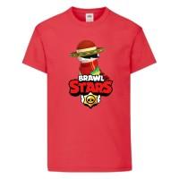 Футболка детская Brawl Stars Quickdraw Edgar (Бравл Старс Эдгар Молниеносный) красная 164 см
