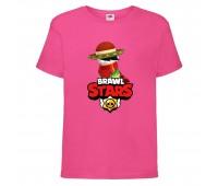 Футболка детская Brawl Stars Quickdraw Edgar (Бравл Старс Эдгар Молниеносный) малиновая 104 см