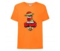 Футболка детская Brawl Stars Quickdraw Edgar (Бравл Старс Эдгар Молниеносный) оранжевая 104 см