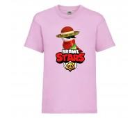 Футболка детская Brawl Stars Quickdraw Edgar (Бравл Старс Эдгар Молниеносный) розовая 104 см