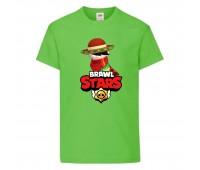 Футболка детская Brawl Stars Quickdraw Edgar (Бравл Старс Эдгар Молниеносный) светлозеленая 104 см
