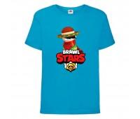 Футболка детская Brawl Stars Quickdraw Edgar (Бравл Старс Эдгар Молниеносный) синяя 104 см