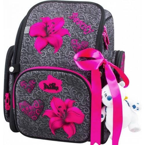 Рюкзак-ранец DeLune 6-119 школьный ортопедический с 3D изображением серый с розовым (DL-6-119)