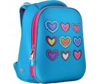 Рюкзак каркасный Yes Hearts turquoise H-12 школьный голубой