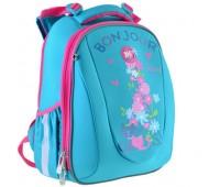 Рюкзак каркасный Yes Bonjour H-28  школьный голубой