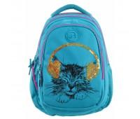 Рюкзак  YES Step One Musical Cat  Т-22 подростковый голубой