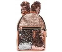 Рюкзак Cappuccino Toys EARS-KZ-pud с ушками для девочек с пайетками пудровый