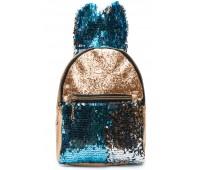 Рюкзак Cappuccino Toys EARS-KZ-zbl с ушками для девочек с голубыми пайетками золотой