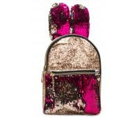 Рюкзак Cappuccino Toys EARS-KZ-zм с ушками для девочек с малиновыми пайетками золотой
