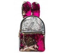Рюкзак Cappuccino Toys EARS-KZ-sм с ушками для девочек с малиновыми пайетками серебренный