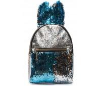 Рюкзак Cappuccino Toys EARS-KZ-sbl с ушками для девочек с голубыми пайетками серебренный