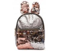 Рюкзак Cappuccino Toys EARS-KZ-sp с ушками для девочек с пудровыми пайетками серебренный