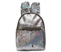 Рюкзак Cappuccino Toys EARS-KZ-s с ушками для девочек с пайетками серебренный