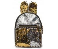 Рюкзак Cappuccino Toys EARS-KZ-sz с ушками для девочек с золотыми пайетками серебренный