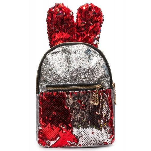 Рюкзак Cappuccino Toys EARS-KZ-sK с ушками для девочек с красными пайетками серебренный